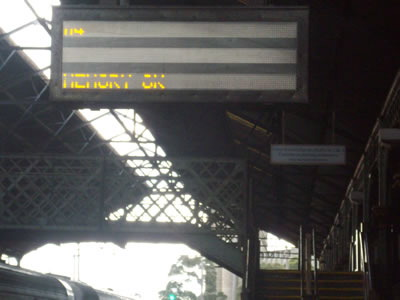 Electronic board at Geelong station: Memory OK