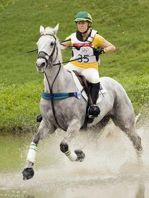 Australia's Megan Jones rides Irish Jester during the equestrian eventing cross country competition at the Beijing 2008 Olympic Games in Hong Kong