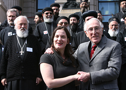 Gianna Jessen with priests outside Parliament House, Victoria