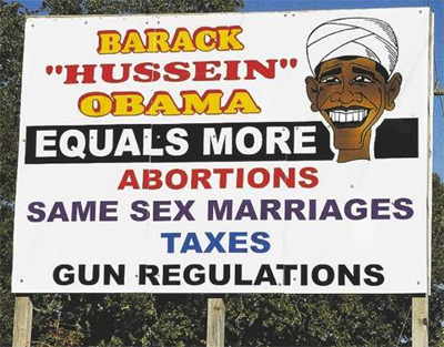 Racist billboard in US election