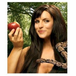 "Image of ""eve"" with an apple and snake, to illustrate the fact that sexual assault and simple bad sex is All Wimmins Fault."