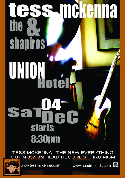 Poster for Tess McKenna, Union Hotel, Saturday December 4 8:30