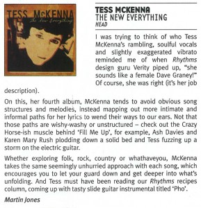 Review of Tess's latest CD, The New Everything, Martin Jones, Rhythms magazine, Jan 2011