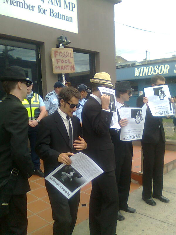 Facebook group at Keep an Eye on Martin Ferguson protest at Marn's Preston office, 10 January 2012