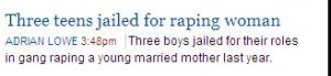 Screenshot of link on the AGE Web page - Three boys jailed for raping a young married mother...