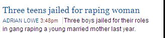 Screenshot of link on the AGE Web page - Three boys jailed for their roles in raping a young married mother...
