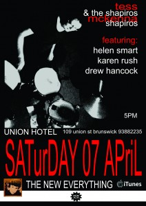 Tess McKenna and the Shapiros featuring Helen Smart, Karen Rush, Drew Hancock. Union Hotel Saturday 7 April