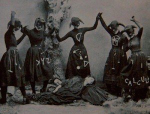 Witch-like female figures dancing around two dead (?) female figures