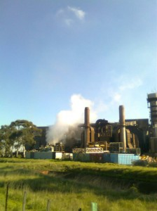 The Satanic Mill - Metal Recycling plant on the Federation trail, big and black with steam fooshing out
