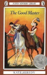 Cover art for Kate Seredy's The Good Master. A boy and a girl on horseback gallop up to a gate. The girl gets there first and opens the gate without dismounting.