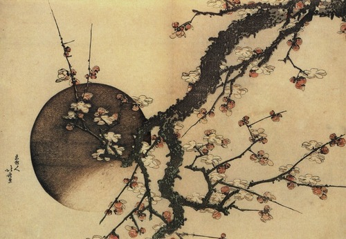 Plum Blossoms and the Moon by Hokusai