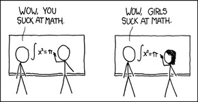 XKCD cartoon, How It Works. (1): Two men write maths problems on a whiteboard. One says to the other: